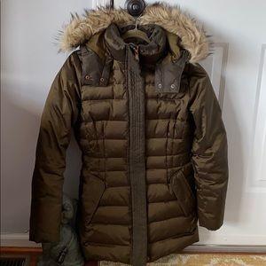 Land's end puffer coat w faux fur hood